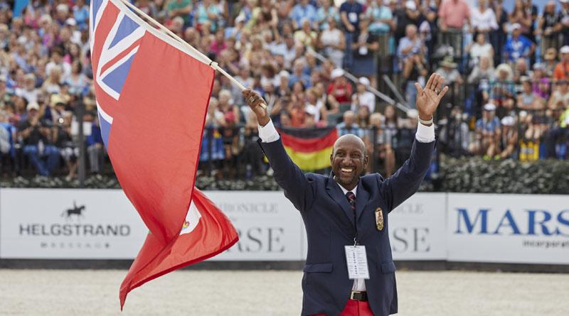 Bermuda endurance riderMarvan Brangman was his country's flag-bearer for the WEG Opening Ceremony.