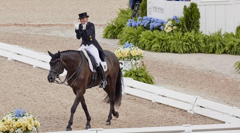 Germany's Dorothee Schneider was pleased with her ride on Sammy Davis Junior in the teams dressage competition.