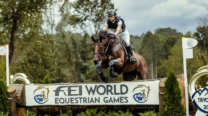 Germany's Ingrid Klimke and Hale Bob led after the cross country at the FEI World Equestrian Games, eventually winning the bronze medal. © FEI/Christophe Taniere