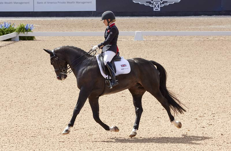 Grade V para dressage gold medalist Sophie Wells of Great Britain with C Fatal Attraction.
