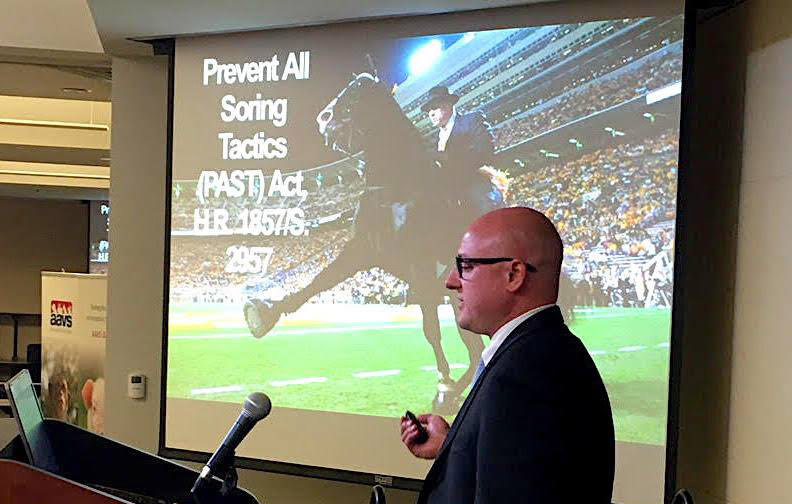 Animal Wellness ActionExecutive Director Marty Irby speaks at a meeting on the organisation's federal equine protection work in Congress on PAST Act (Prevent All Soring Tactics).