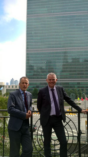 World Horse Welfare CEO Roly Owers and The Donkey Sanctuary CEO Mike Baker outside UN Headquarters in New York this week.
