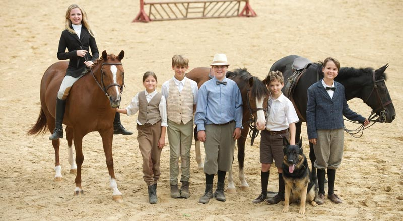 "Young riders on the set of Billy and Blaze; at far left is Kat Fuqua and her pony Ladybug, and ""Billy"" -- Henry Lesko-- is pictured second right with Banbury Cross Abu."