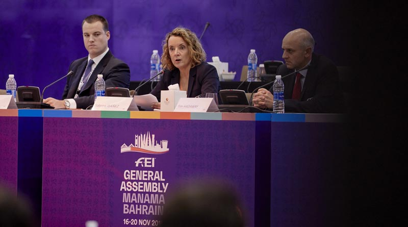 From left, Andrew Smith from the Equestrian Community Integrity Unit (ECIU), FEI Secretary General Sabrina Ibáñez and FEI Director of Games Operations Tim Hadaway during the Rules Session at the FEI General Assembly in Manama, Bahrain on Monday. © FEI/Liz Gregg