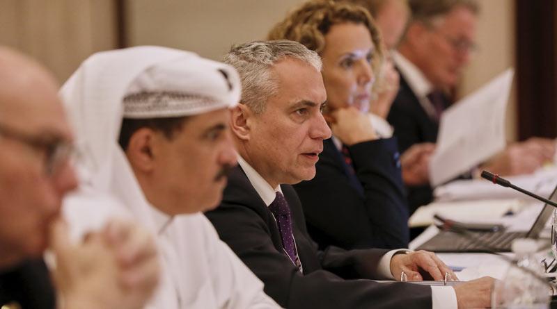 From left, Sheik Khalid Bin Abdulla Al Khalifa, FEI President Ingmar De Vos and FEI Secretary General Sabrina Ibáñez at the FEI Bureau in-person meeting in Manama, Bahrain.