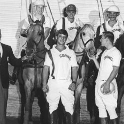 Polo coach Stephen Roberts, D.V.M. '38, with the 1968-1969 Cornell Polo Team varsity players. On horseback, left to right: Dan Ladd, Dr. Doug Antczak '69 and Bill Armstrong '70. Standing, left to right: Paul Wilson and Jeff Springer '69.