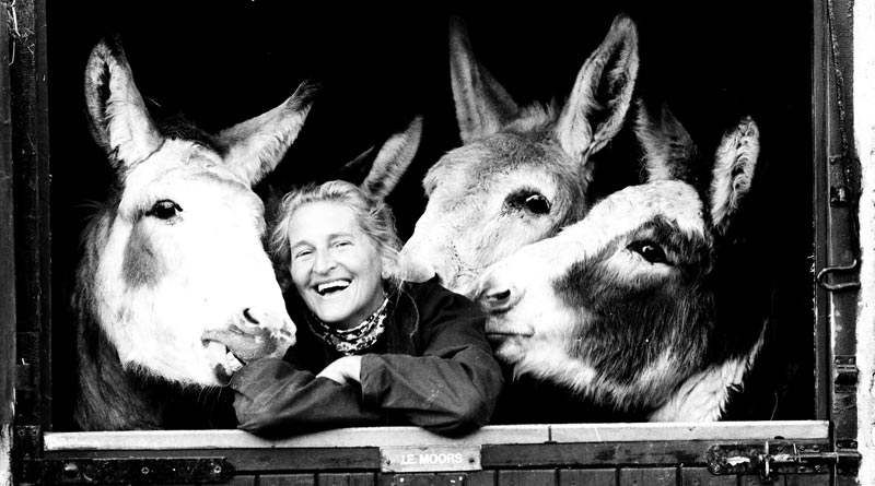 DrElisabeth Svendsen and three members of The Donkey Sanctuary family in 1986.