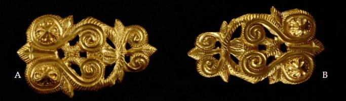 Appliqués with an irregular shape, probably designed to go either side of the horse's mouth. Image: G . Balabanov