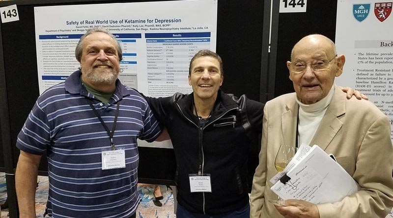 """Pioneers in """"The Ketamine Journey"""" Ed Domino, MD, (right) wrote the first paper describing ketamine's anesthetic properties in humans (1965). Dennis Charney, MD (left) was a senior author on the first paper reporting ketamine's effectiveness for depression (2000). David Feifel, MD, PhD, (center) launched the first program using IV ketamine infusions to treat patients for depression (2008)."""