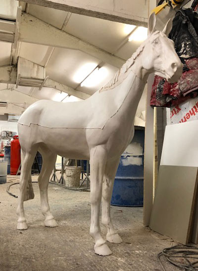 One of the completed sculptures ready for painting for the World Horse Trails.