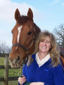 Dr Dionne Benson and her riding horse, Cooper.