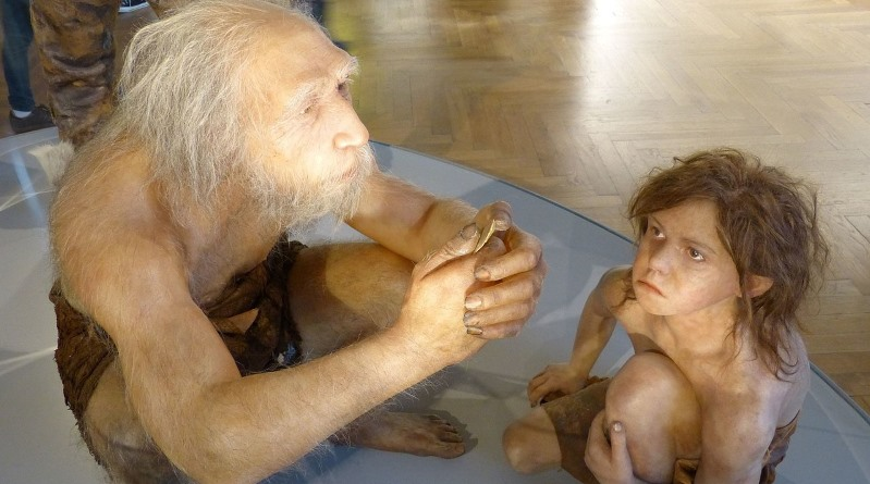 An artist's reconstruction of a Neanderthal man with a child, in the Natural History Museum, Vienna. Photo: Wolfgang Sauber CC BY-SA 4.0