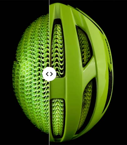 Cross-section of a helmet using the WaveCel technology.