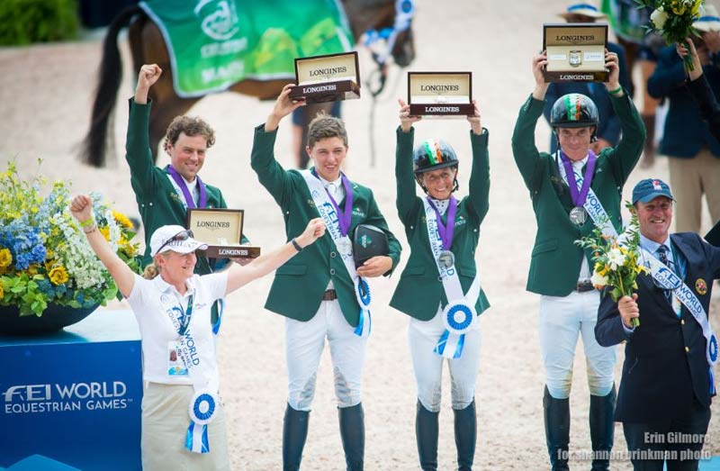 Ireland's Silver medal winningIrishEventing team with manager Sally Corscadden at the 2018 World Equestrian Games.