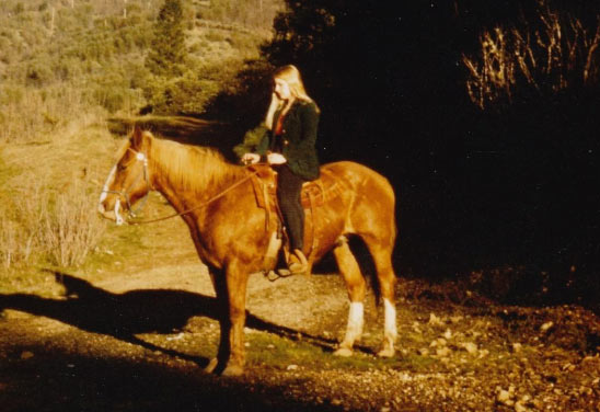 Laura Simpson riding at the Simpson Ranch, in about 1972.