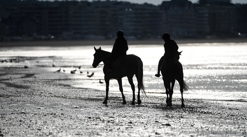 Riders on La Baule beach in France.