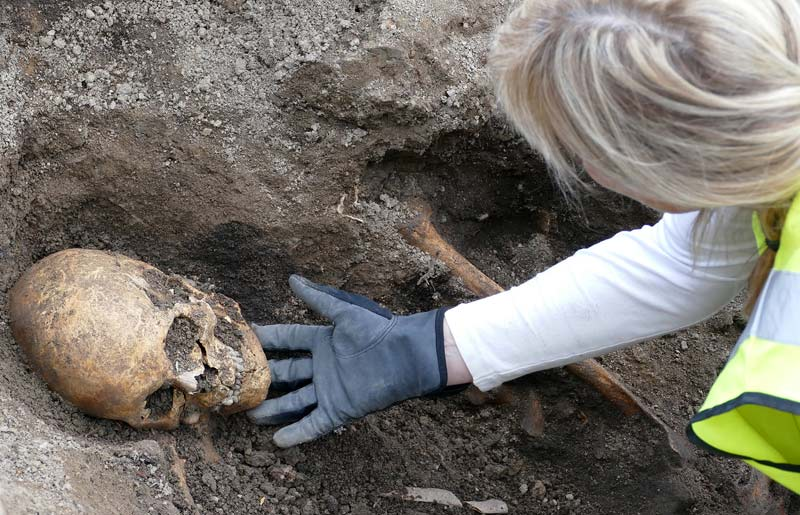 Osteologist Carolin Arcini with the skeleton of the man found in the Viking boat.