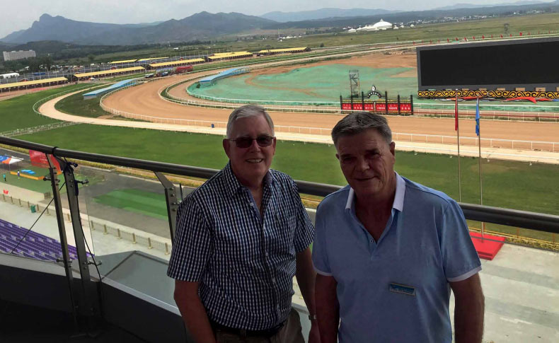 Des Friedrich (left) and Robbie Hewetson have been employed to help with the racing management of a state-of-the-art racecourse at Hohhot, the capital of Inner Mongolia.