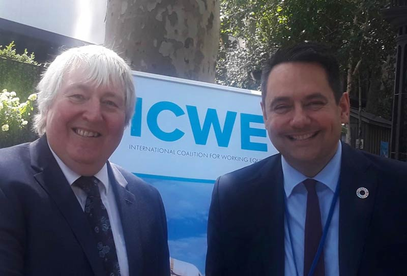 Ian Cawsey with MP Stephen Twigg, Chair at UK parliament's International Development Select Committee.