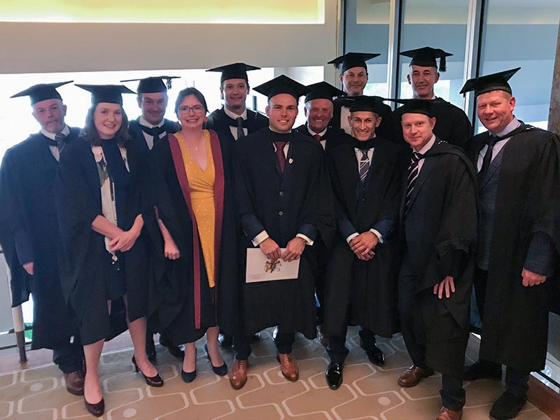 Diploma graduates at the RVC Graduation Ceremony with Amy Barstow, Deputy Course Director (fourth from the left)
