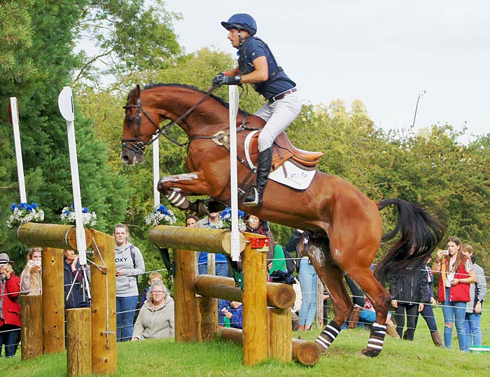 Tim Price and Ringwood Sky Boy, who was unfortunately eliminated late on the cross-country, at the 24th obstacle.