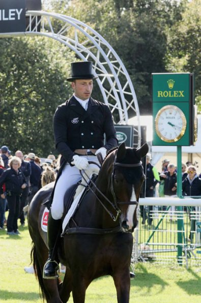 Tim Price (NZP) is eighth on Xavier Faer after the first day of dressage at Burghley. © Mike Bain