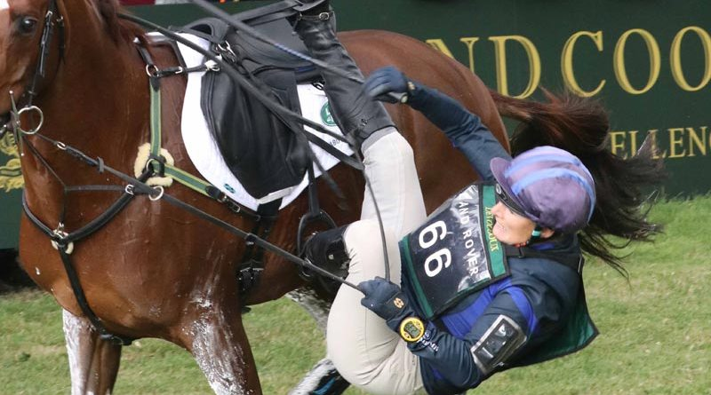 Zara Tindall parts company from Class Affair at the seventh fence at Burghley on Saturday. They had been in 17th place after the dressage phase. © Mike Bain