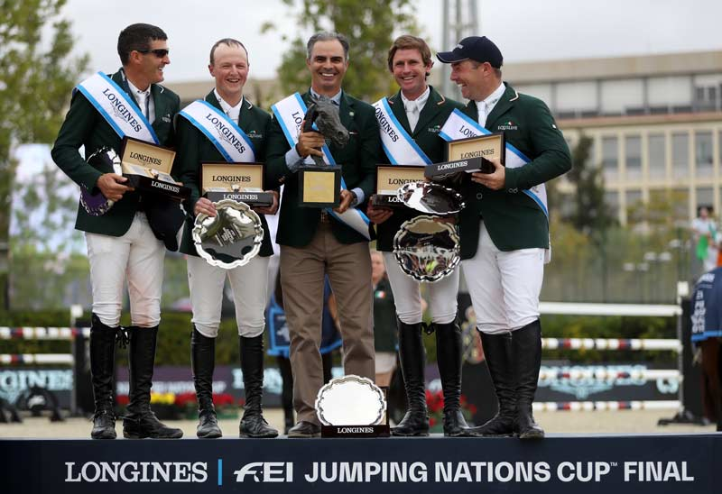 Ireland clinched the 2019 title and the single qualifying spot on offer for the Tokyo 2020 Olympic Games at the Longines FEI Jumping Nations Cup Final at the Real Club de Polo in Barcelona on Sunday. From left, Paul O'Shea, Peter Moloney, Chef d'Equipe Rodrigo Pessoa, Darragh Kenny and Cian O'Connor.