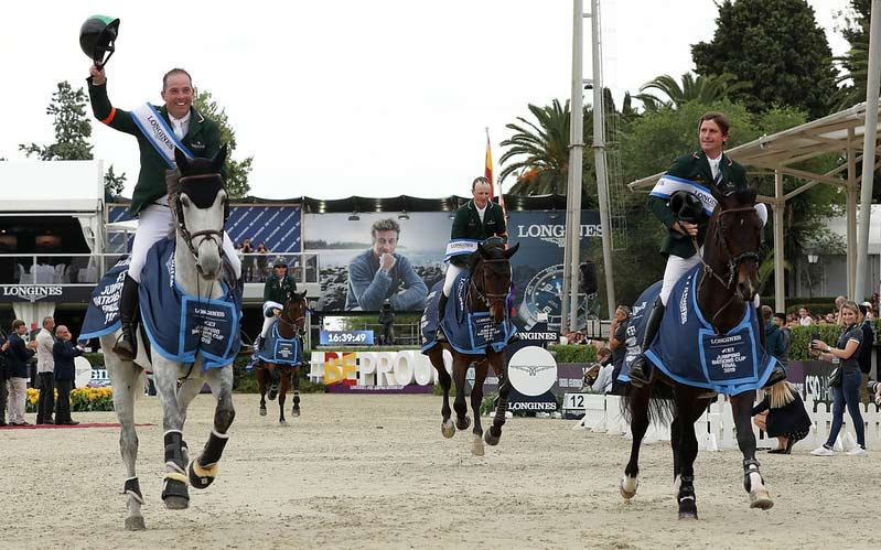 Team Ireland in their lap of honour at the Longines FEI Jumping Nations Cup Final Competition, in Barcelona. From left: Cian O´Connor, Paul O'Shea, Peter Moloney and Darragh Kenny.