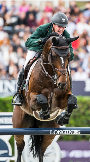 Peter Moloney and Chianti's Champion in the Longines FEI Jumping Nations Cup Final Competition in  Barcelona.