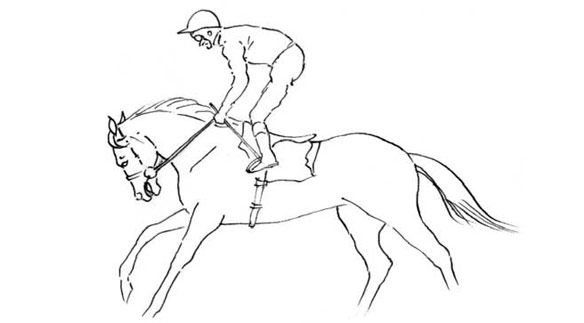 An exercise rider 'bridging' the reins during a training gallop, unintentionally causing pain, airway obstruction and lung damage.