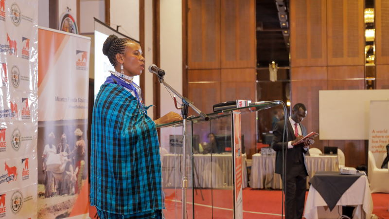 Tanzanian farmer Grace Saruni told conference attendees of the consequences of the rampant theft of donkeys. © Brooke