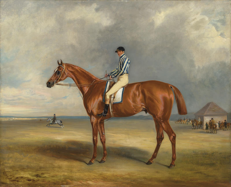 The Earl of Jersey's 'Riddlesworth' with J. Robinson up at Newmarket, by John Ferneley snr  sold for £168,750 at Christies in London this week. © Christies