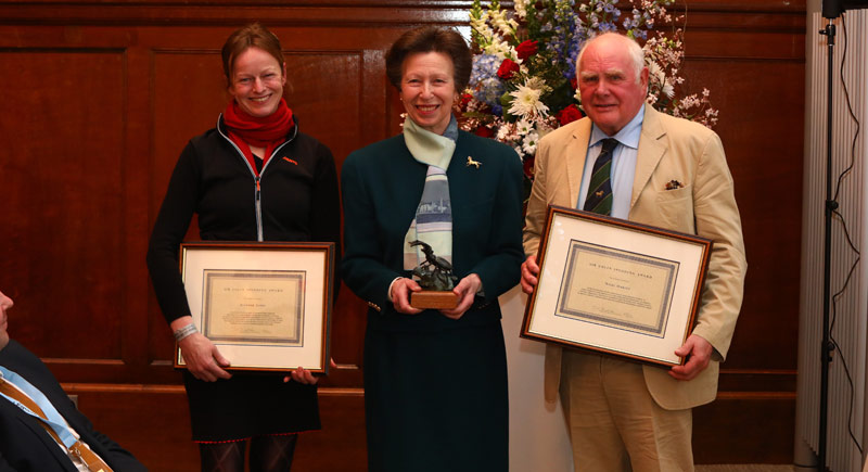 Eleanor Jones and Nigel Oakley receiving the Sir Colin Spedding Award, presented by Princess Anne The Princess Royal, President of the National Equine Forum. © Craig Payne Photography