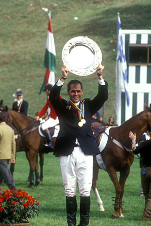 Blyth Tait after his 1998 World Eventing Championship title win on and Ready Teddy in Rome, 1998.