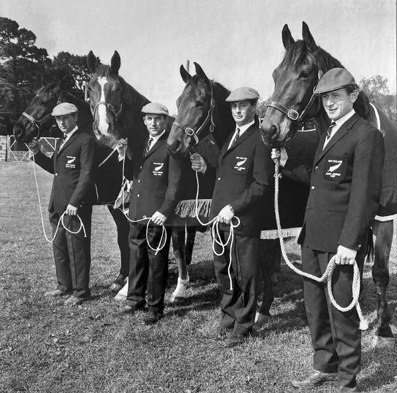 New Zealand's showjumping team for the 1964 Tokyo Olympic Games.