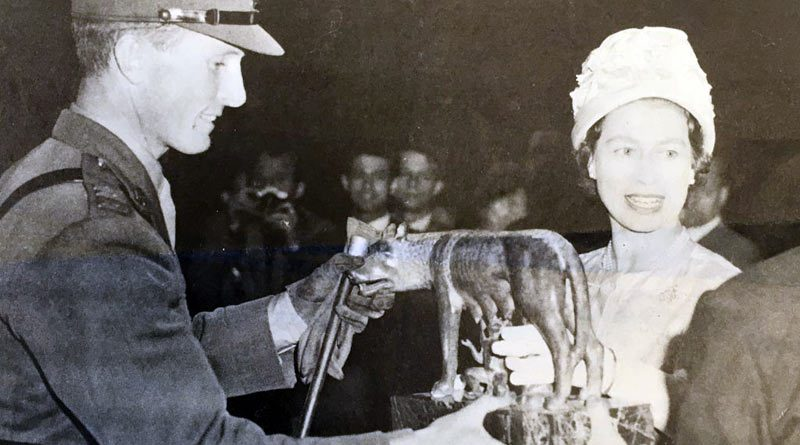 Queen Elizabeth II presents the Romulus & Remus trophy to Captain Billy Ringrose on winning the Grand Prix at the Piazza di Siena, Rome with Loch an Easpaig, on May 3, 1961. Ringrose also came second on his back-up horse, Cloyne.