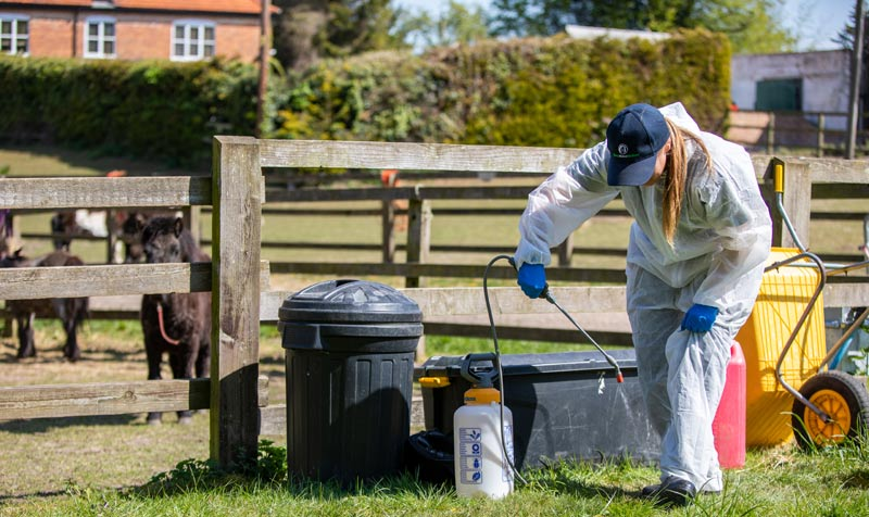 A staff member at World Horse Welfare takes care to disinfect during the Covid-19 pandemic.