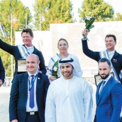 New Zealand's  jumping team won the Abu Dhabi Nations Cup. On podium, from left, Tom Tarver, Bruce Goodin, Desiree Johnson, Daniel Meech, and Richard Gardner. © FEI Helen Cruden