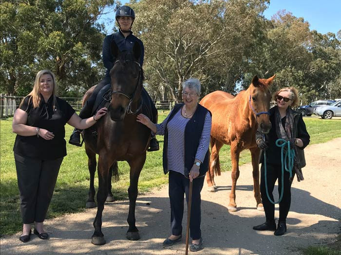 From left, CommBank Mount Barker Branch Manager Kerri Kersley, Horse SA Vice-Chair Dr Kirrilly Thompson riding Mouse, Horse SA Management Committee member Judith Leeson AM, and Horse SA Chair Dr Lisa McDonald leading Chelsea.