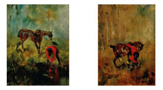 Cheval de chasse à courre, left, and Cavalier de chasse à courre ressanglant son cheval, by Henri de Toulouse-Lautrec.