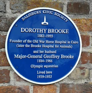 Dorothy Brooke's Blue Plaque in the city of Salisbury.