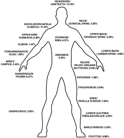 The most common body parts injured were the lower extremity (30.9%), upper extremity (25.5%), head (15.2%) and shoulder (11.8%).