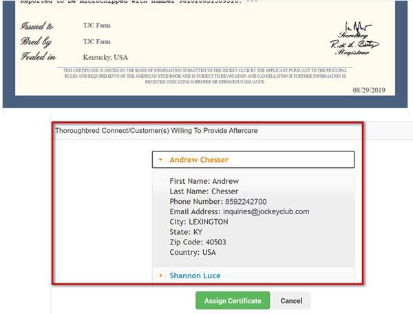 An example digital registration certificate.