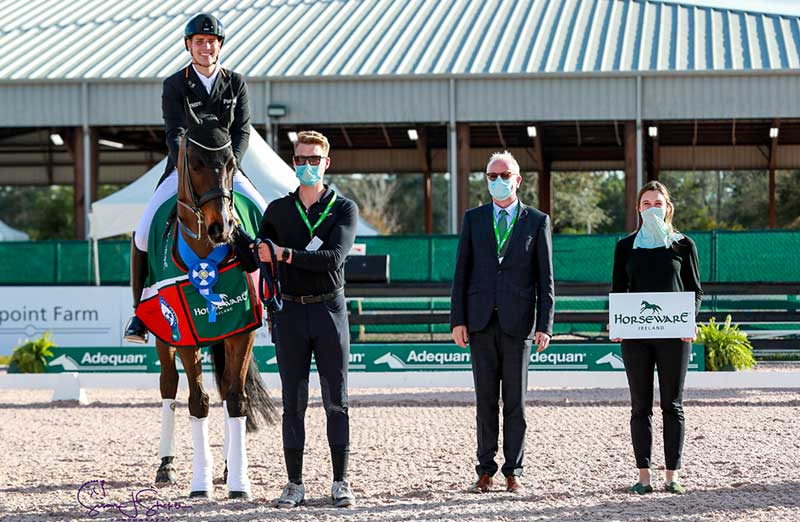 Frederic Wandres and Rebroff in their award ceremony with Judge Kjell Myhre and Caitlin Lane of AGDF.