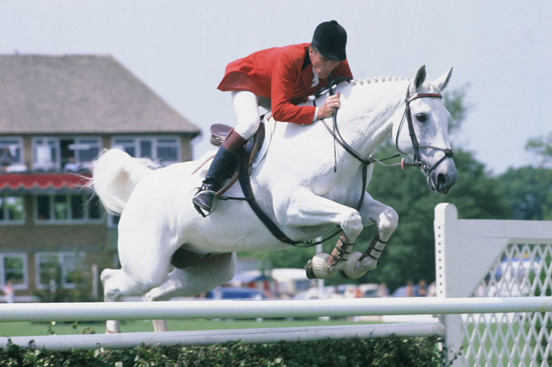 Paddy McMahon (1933-2021) pictured at Hickstead in 1982 with Tigre.