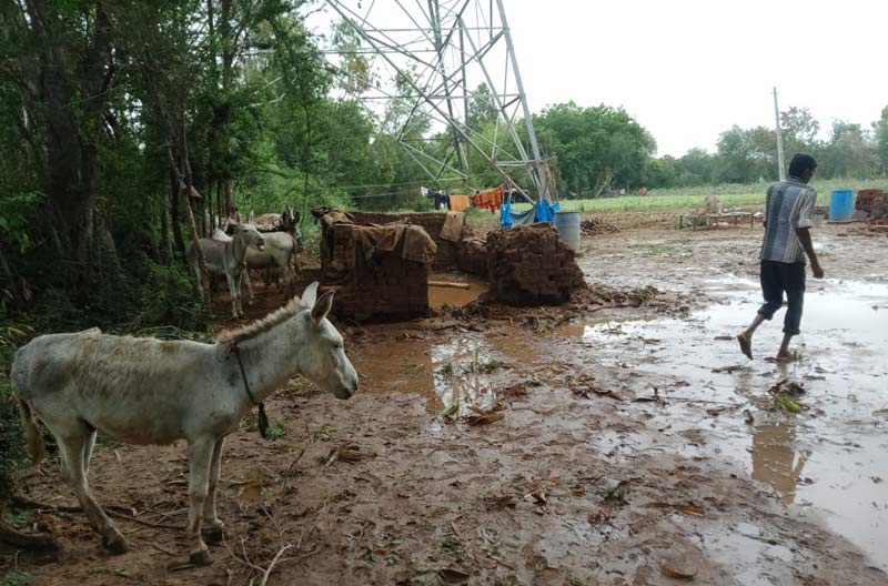 A cyclone has battered the west of India, causing flooding and major damage to homes and brick kilns, where many locals earn their living.