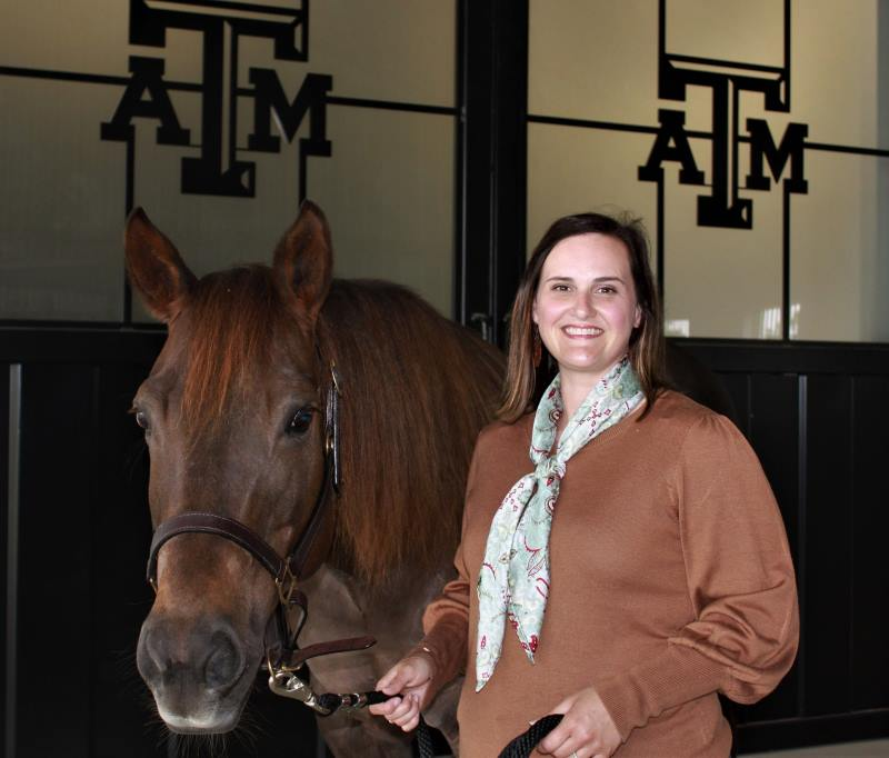Jessica Leatherwood will lead a study to examine the effects of off-label use of bisphosphonates in young horses. Photo: Texas A&M AgriLife