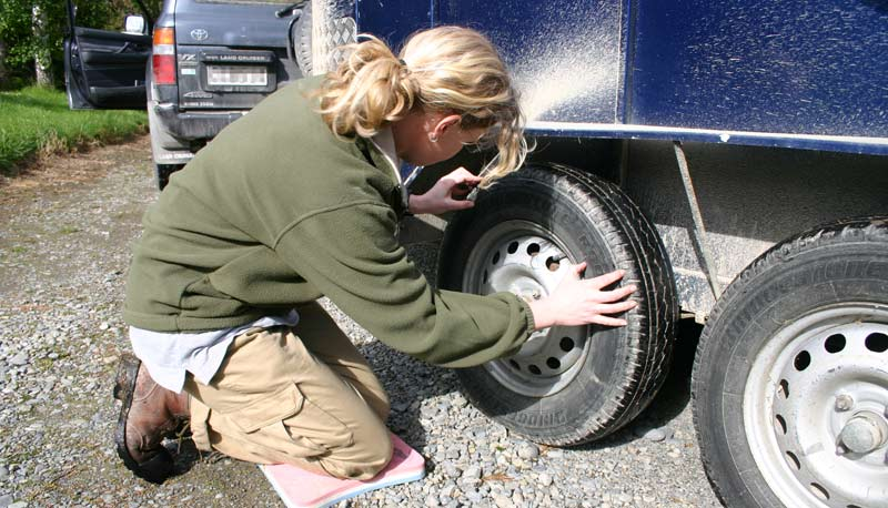 Check your tyre pressures regularly (always when the tyres are cold), and inspect the tread area for stones and other foreign objects that can cause damage.