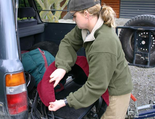 Distribute saddles, feed, and luggage evenly between the trailer and the vehicle.